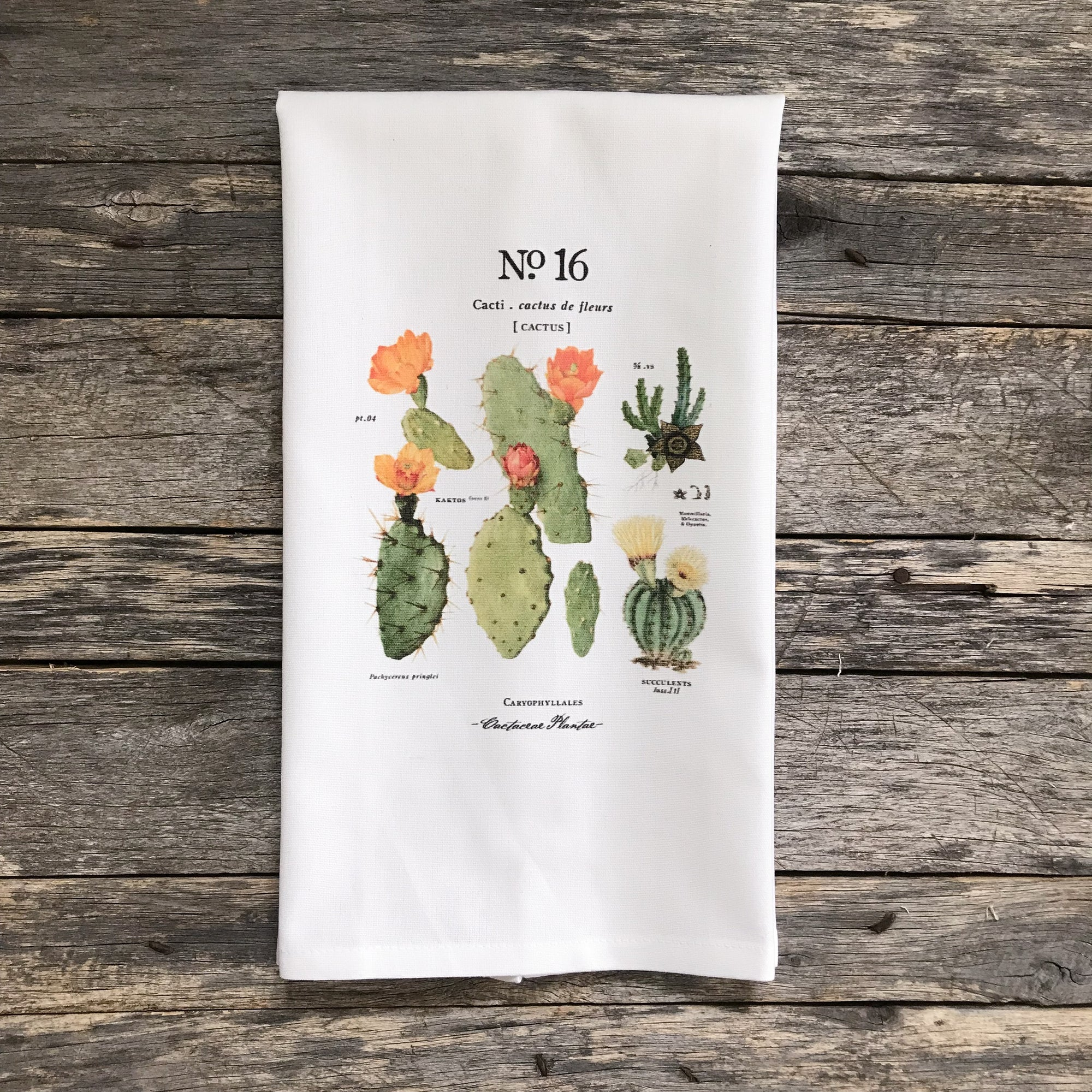 Cactus Botanical No. 16 Tea Towel - Linen and Ivory