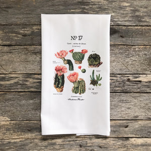 Cactus Botanical No. 17 Tea Towel - Linen and Ivory