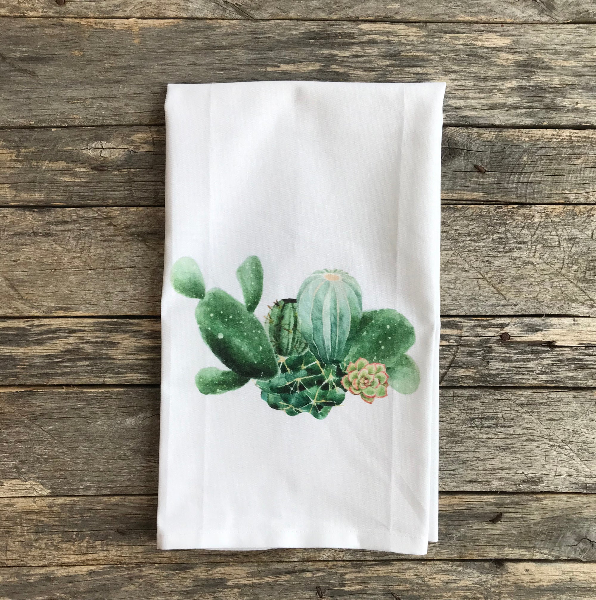 Cactus Tea Towel - Linen and Ivory
