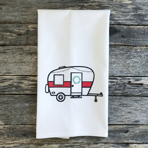 Christmas Camper Tea Towel - Linen and Ivory