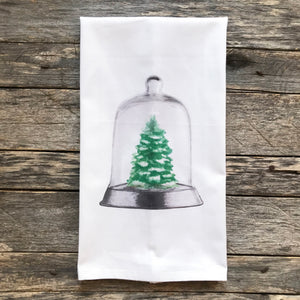 Christmas Tree Cloche Tea Towel - Linen and Ivory