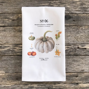 Cinderella Pumpkin Botanical Tea Towel - Linen and Ivory
