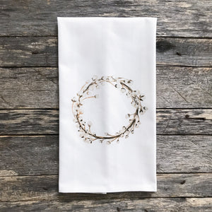 Cotton Wreath Tea Towel - Linen and Ivory