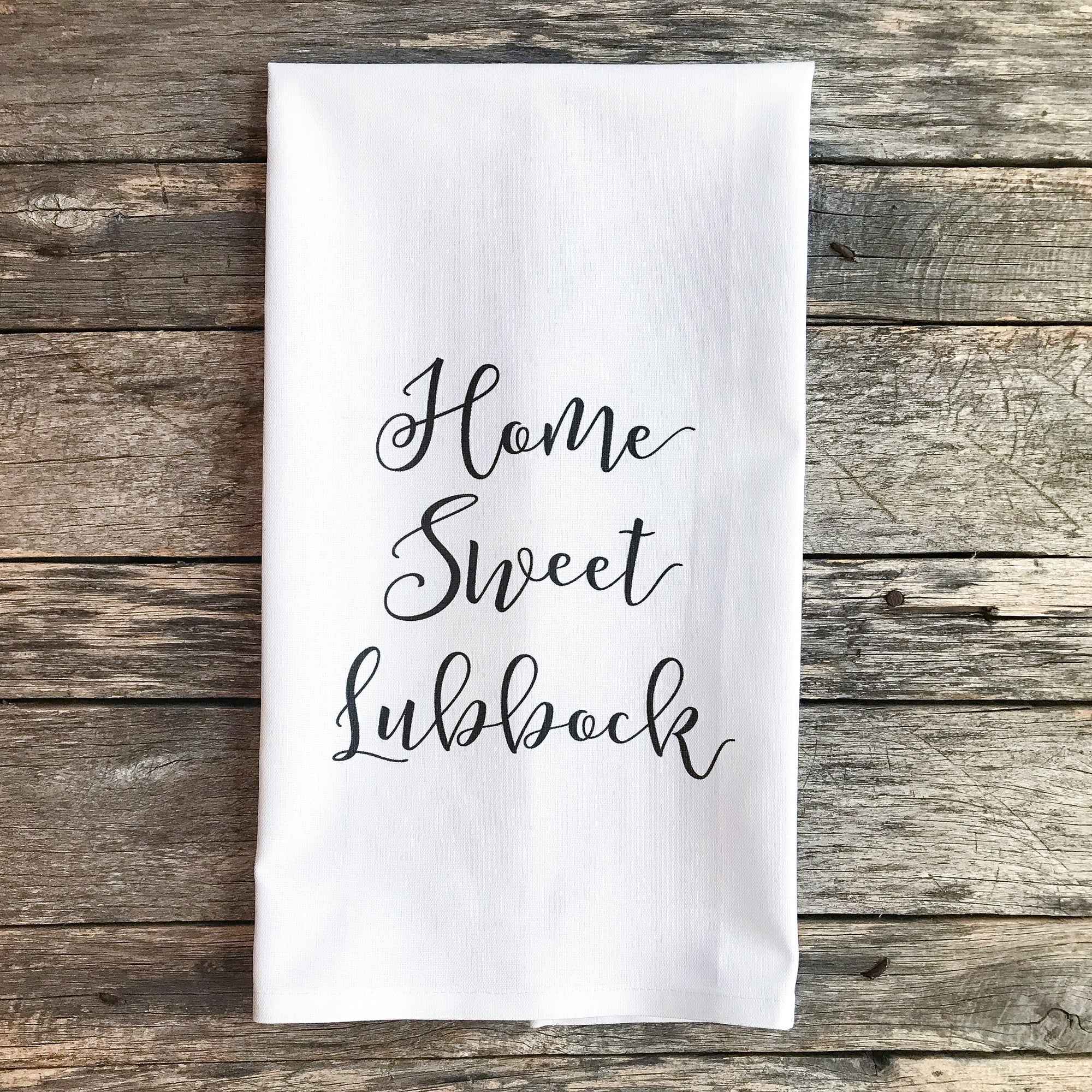 Custom City Home Sweet Home Tea Towel - Linen and Ivory