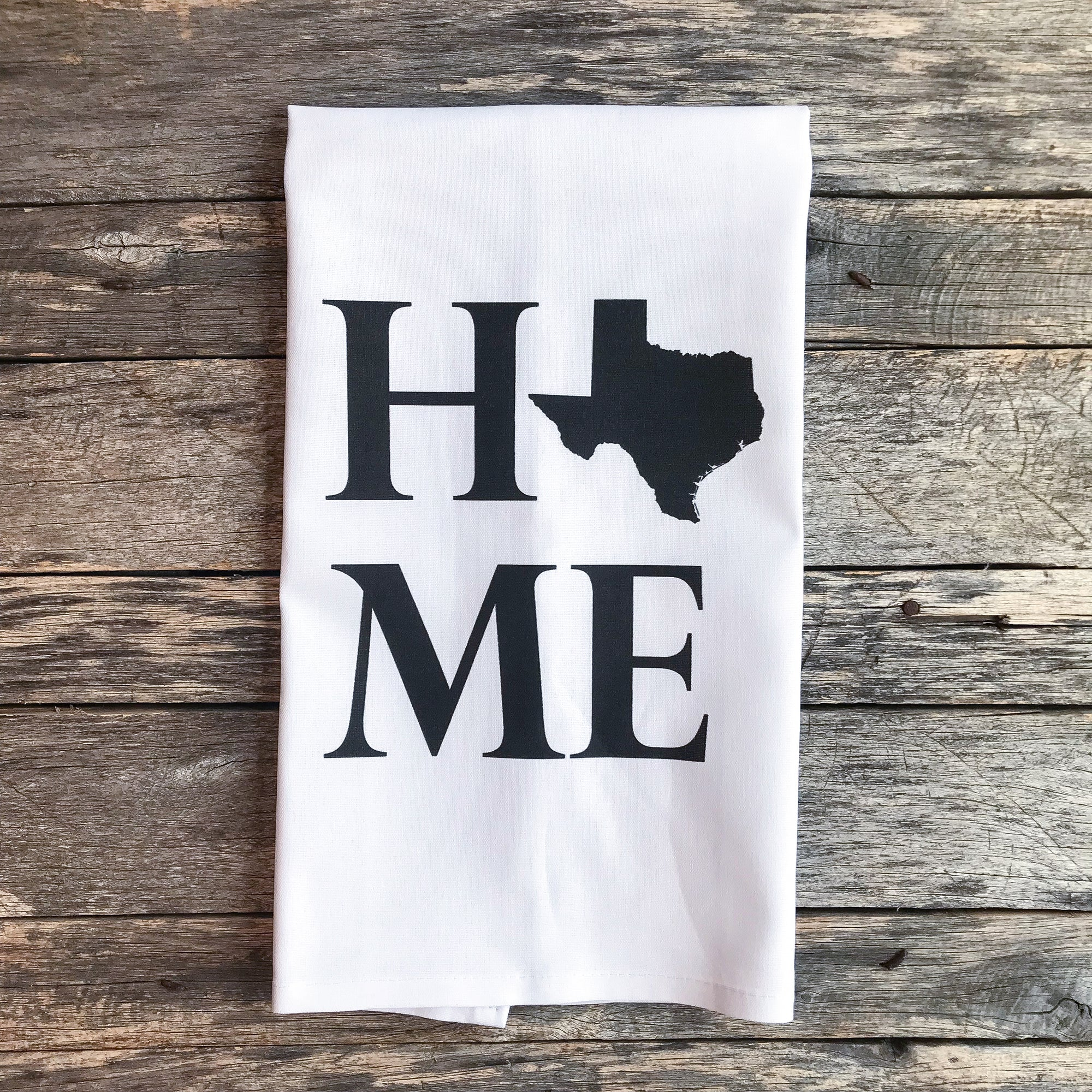 Custom Home State Tea Towel - Linen and Ivory