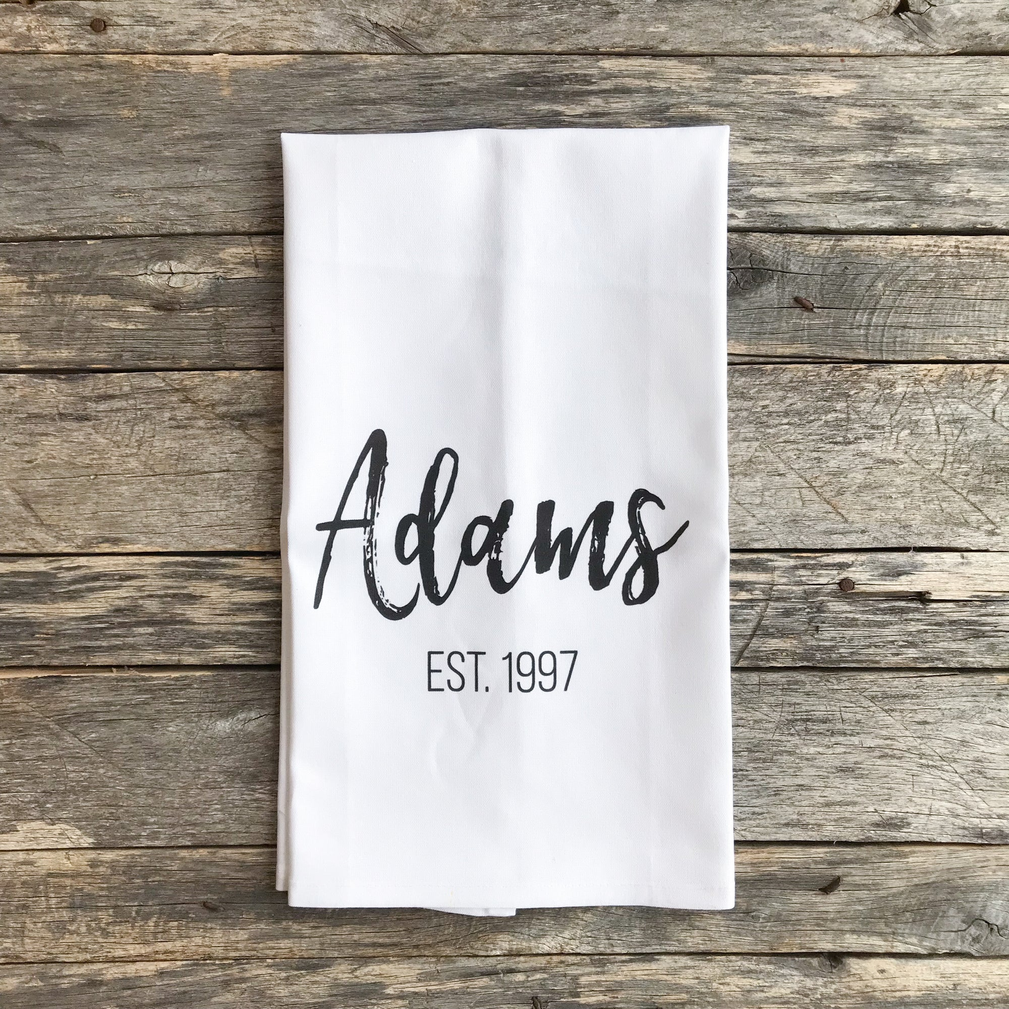 Custom Name & Date Tea Towel - Linen and Ivory