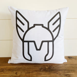 Thor Helmet Pillow Cover (Design 1) - Linen and Ivory