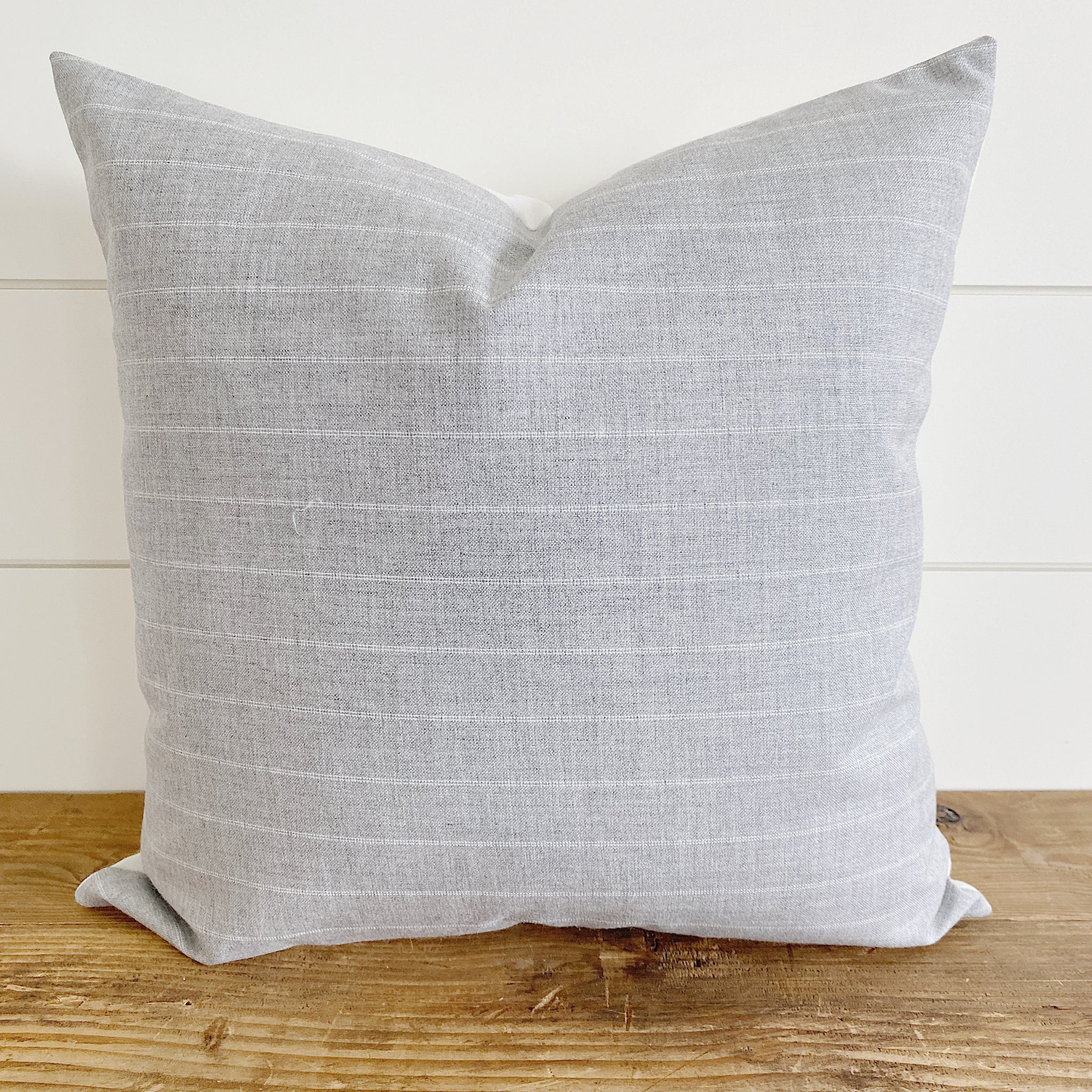 Crew Light Gray White Striped Indoor Outdoor Pillow Cover Linen And Ivory