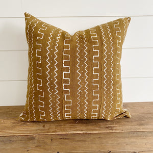 """Ava"" Mustard Authentic African Mud Cloth Lumbar Pillow Cover"