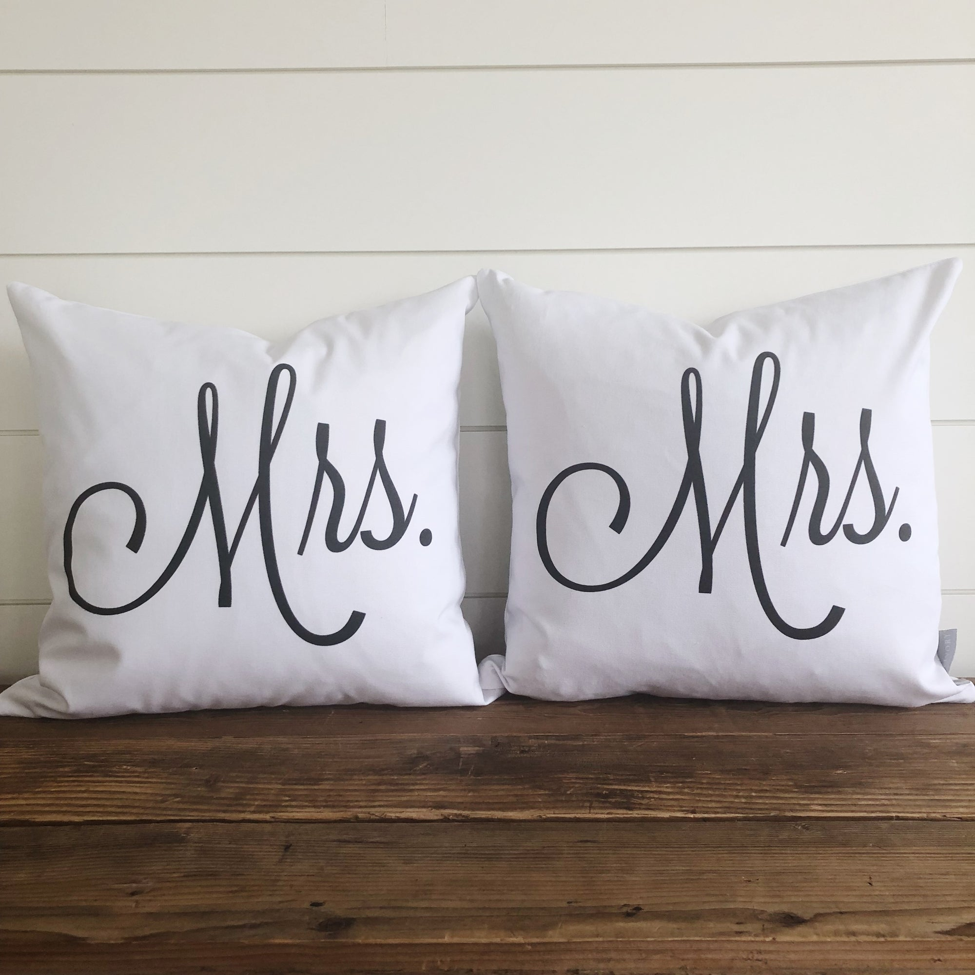 Mrs. & Mrs. (SAME SEX) Pillow Cover (Set of 2) - Linen and Ivory