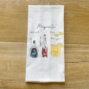 Margarita Watercolor Tea Towel - Linen and Ivory