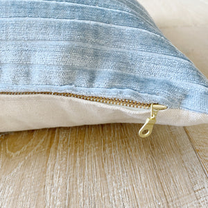 """Sloane"" Velvet Striped Pillow Cover (Misty Blue)"