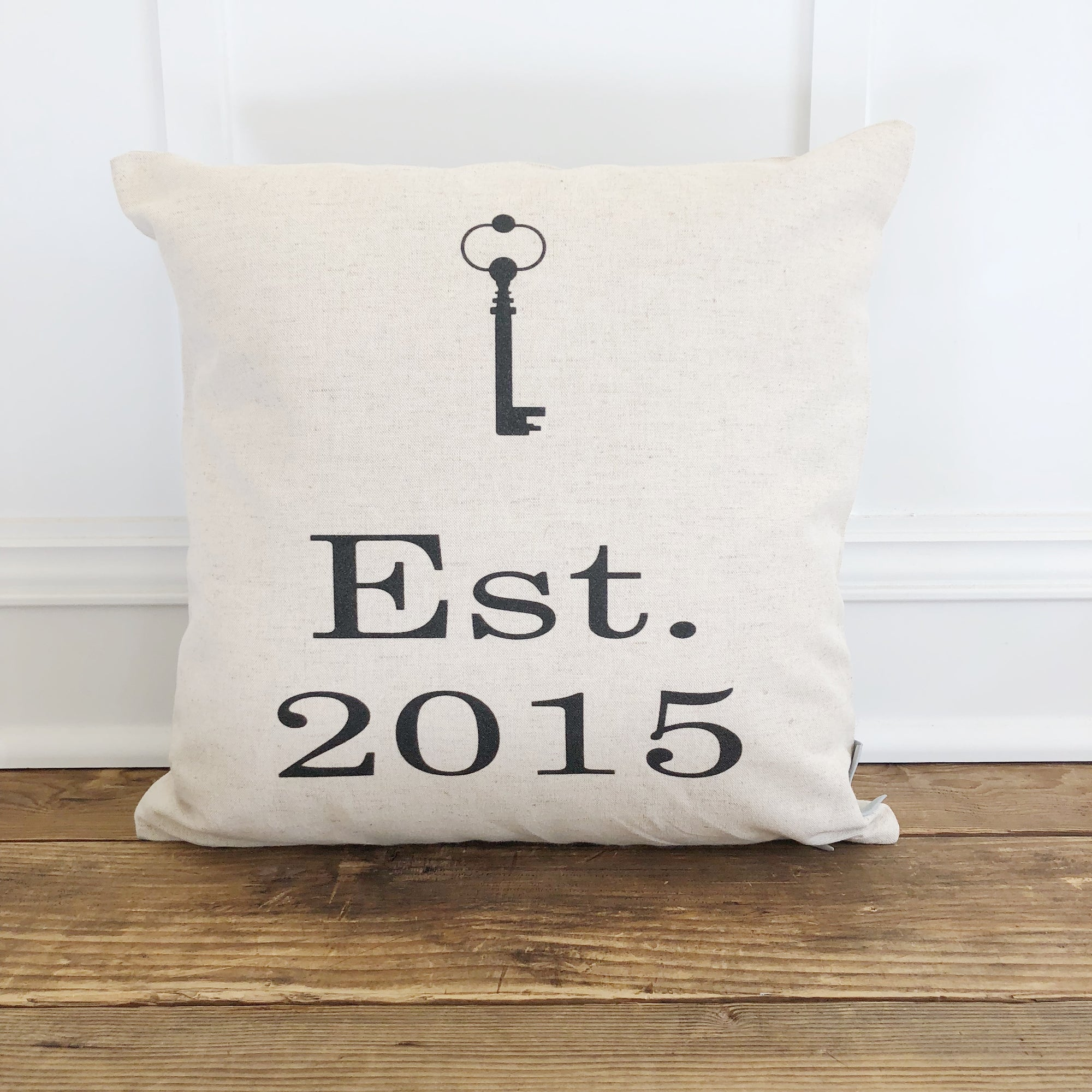 Est. Key Pillow Cover - Linen and Ivory