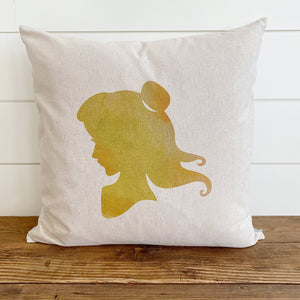 Princess Silhouette Belle (Beauty & The Beast) Inspired Pillow Cover