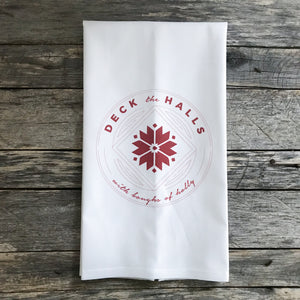 Deck the Halls (Red) Tea Towel - Linen and Ivory