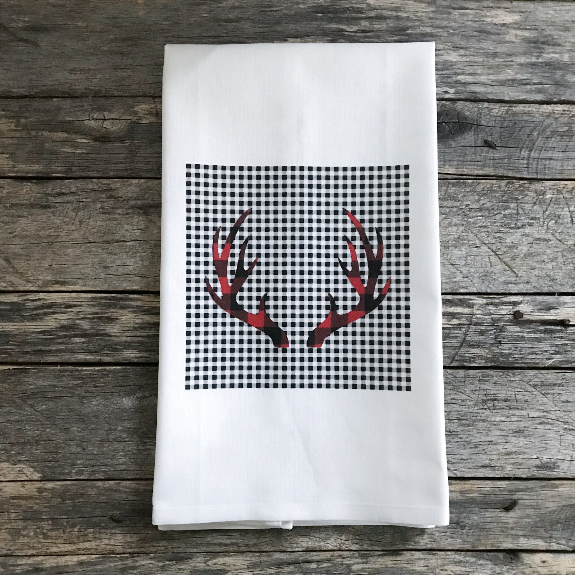Dual Buffalo Plaid Antlers Tea Towel - Linen and Ivory