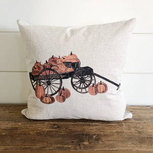 Pumpkin Wagon Pillow Cover - Linen and Ivory