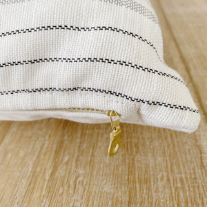 LEIGH || White with Gray Stripes Indoor/Outdoor Pillow Cover