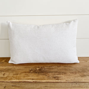 """Rylan"" Neutral Herringbone Pillow Cover-House on 77th Collection - Linen and Ivory"
