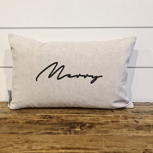 "Modern Script ""Merry"" Pillow Cover - Linen and Ivory"