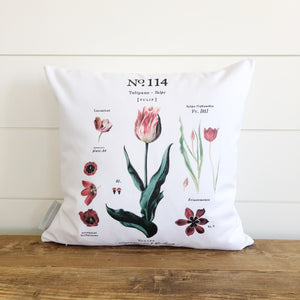 Tulip Botanical Pillow Cover - Linen and Ivory