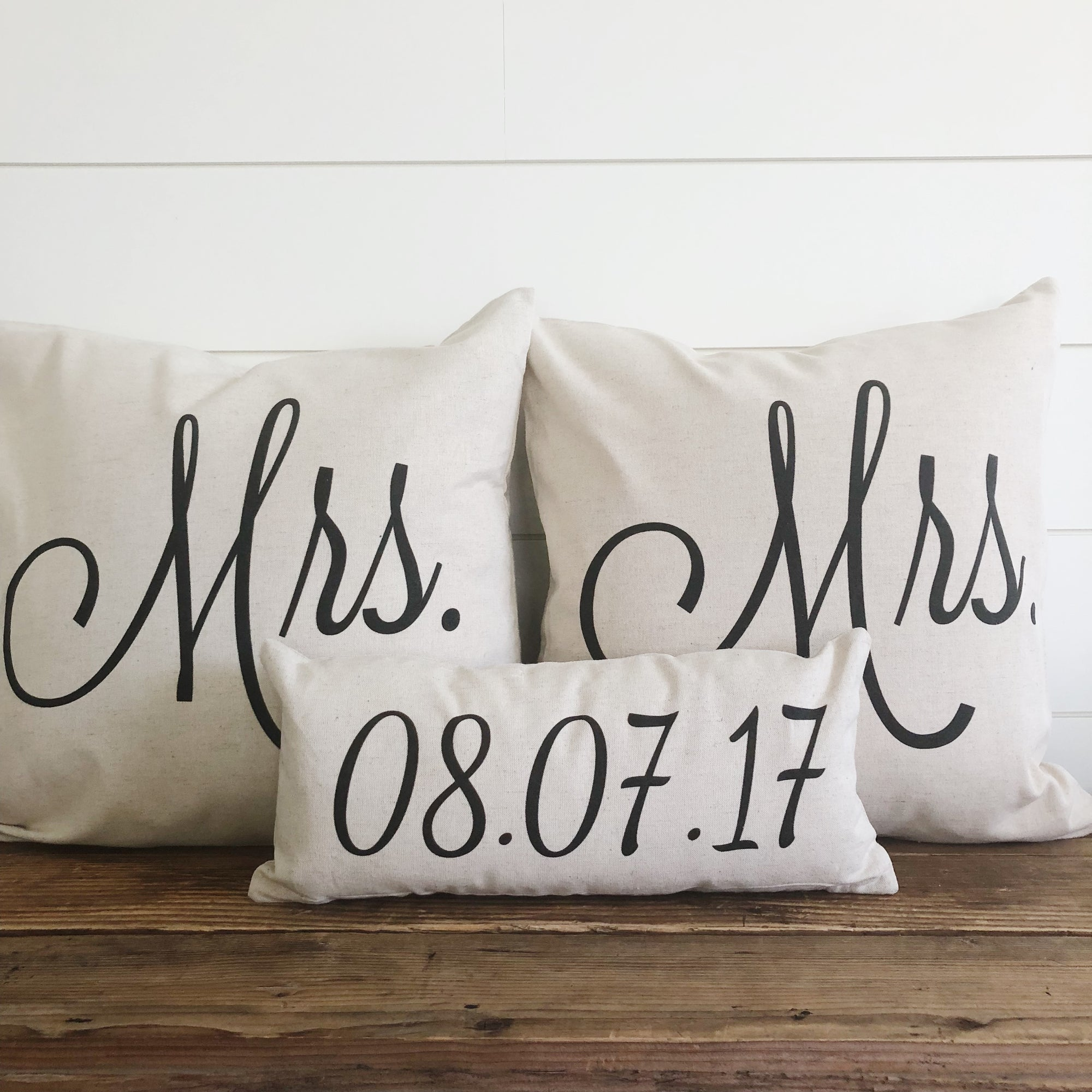 Mrs & Mrs (SAME SEX) Pillow Covers With Wedding Date (Set of 3) - Linen and Ivory