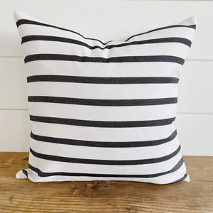 """Bennett"" Cream with Charcoal Gray Stripes Indoor/Outdoor Pillow Cover"