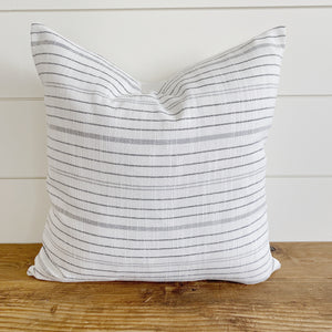"""Leigh"" White with Gray Stripes Indoor/Outdoor Pillow Cover"