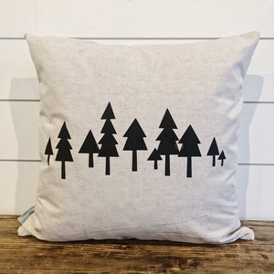 Modern Forest Pillow Cover (Black) - Linen and Ivory