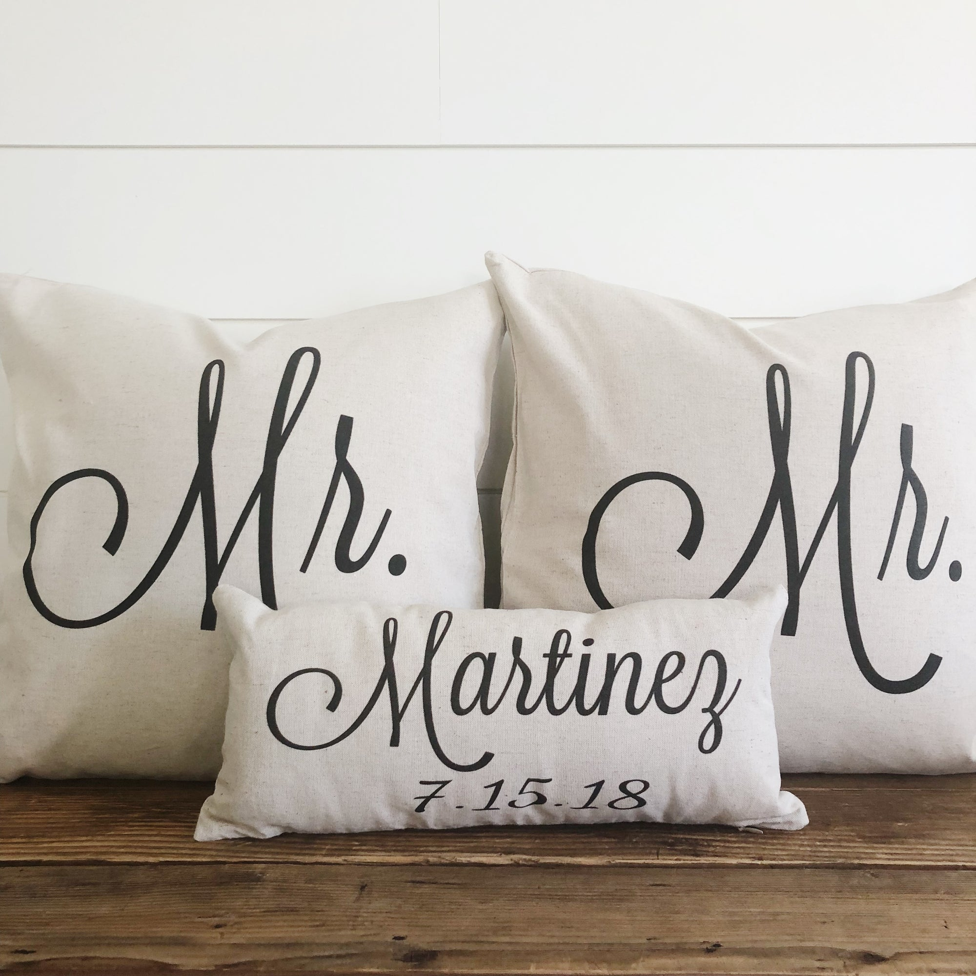 Mr & Mr (SAME SEX) Pillow Covers With Name & Wedding Date (Set of 3) - Linen and Ivory