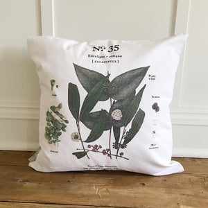Eucalyptus No. 35 Botanical Pillow Cover - Linen and Ivory