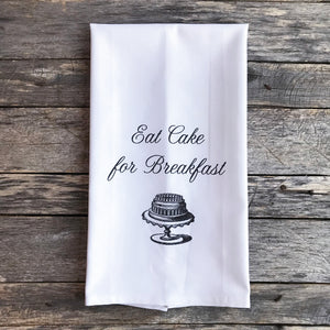 Eat Cake Tea Towel - Linen and Ivory