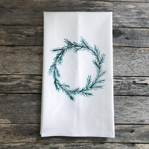 Evergreen Wreath Tea Towel - Linen and Ivory
