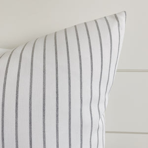 LUCY || Gray & Ivory/White Striped Indoor/Outdoor Pillow Cover