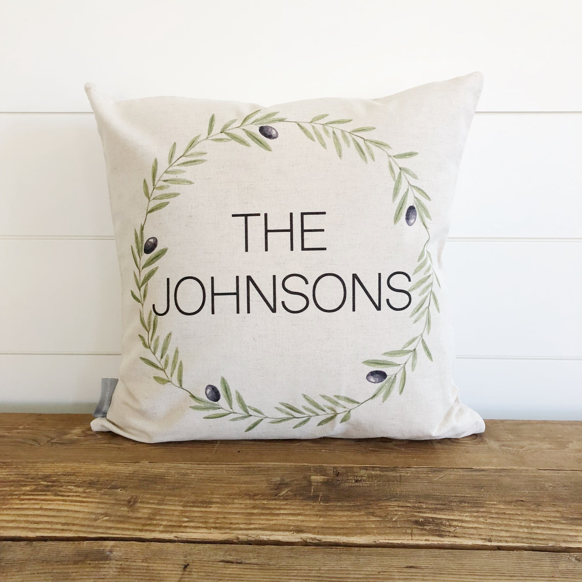 Olive Wreath Name Pillow Cover - Linen and Ivory