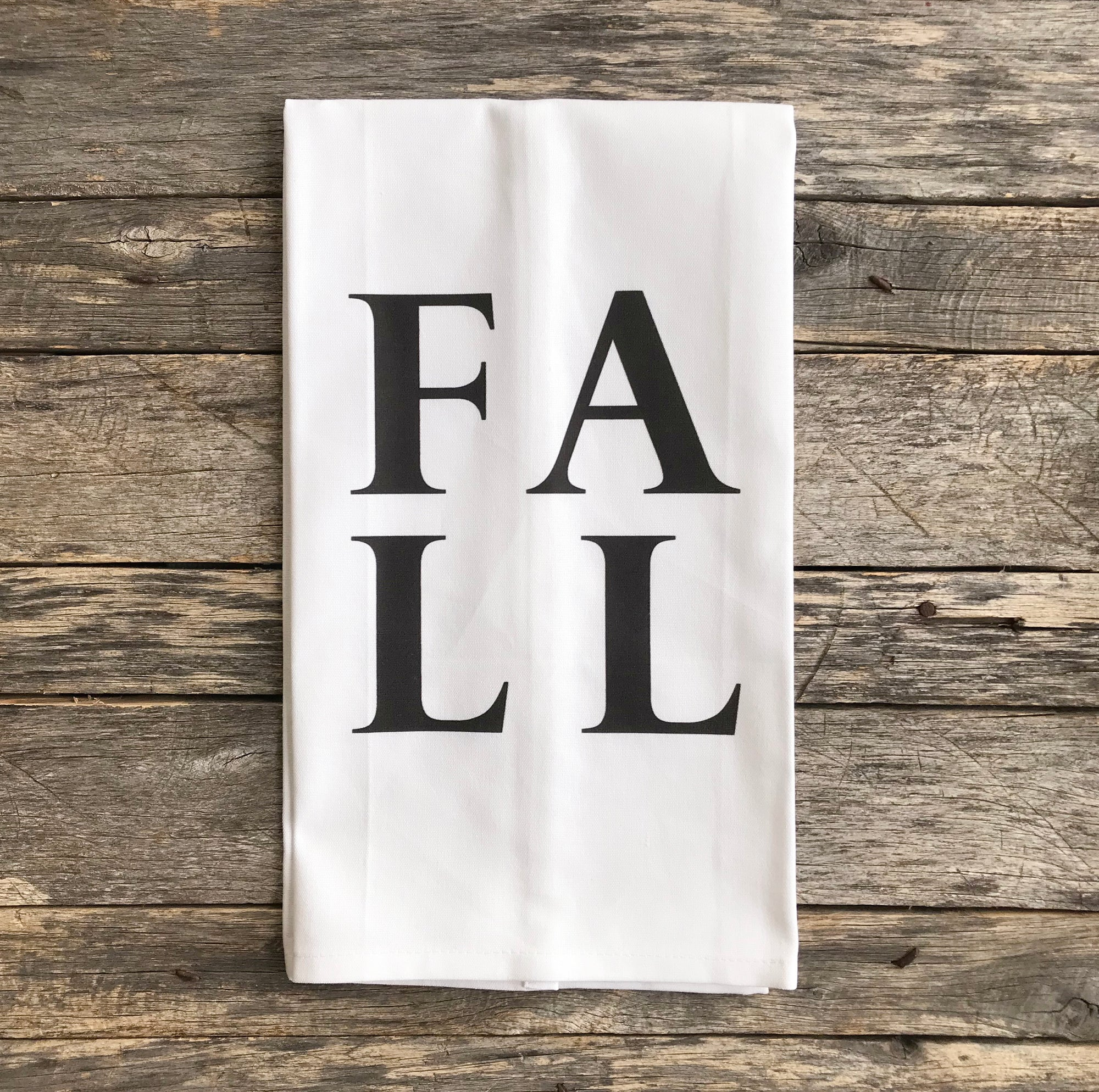 FALL Tea Towel - Linen and Ivory