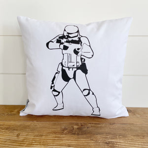 Stormtrooper Star Wars Pillow Cover (Design 1) - Linen and Ivory