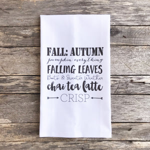 Fall Words Tea Towel - Linen and Ivory