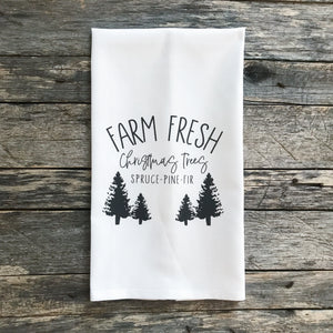 Farm Fresh Christmas Trees Tea Towel - Linen and Ivory