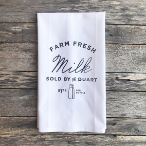 Farm Fresh Milk Tea Towel - Linen and Ivory