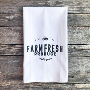 Farm Fresh Produce Tea Towel - Linen and Ivory