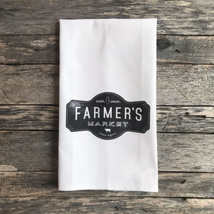 Farmer's Market Tea Towel - Linen and Ivory