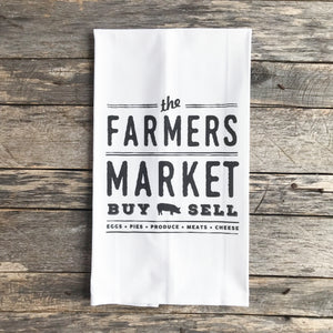Farmers Market Buy & Sell Tea Towel - Linen and Ivory