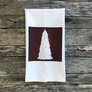 Flocked Christmas Tree (Red) Tea Towel - Linen and Ivory