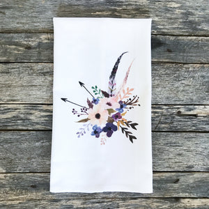 Flowers & Feathers Tea Towel - Linen and Ivory