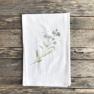 Watercolor Forget-Me-Nots Tea Towel - Linen and Ivory