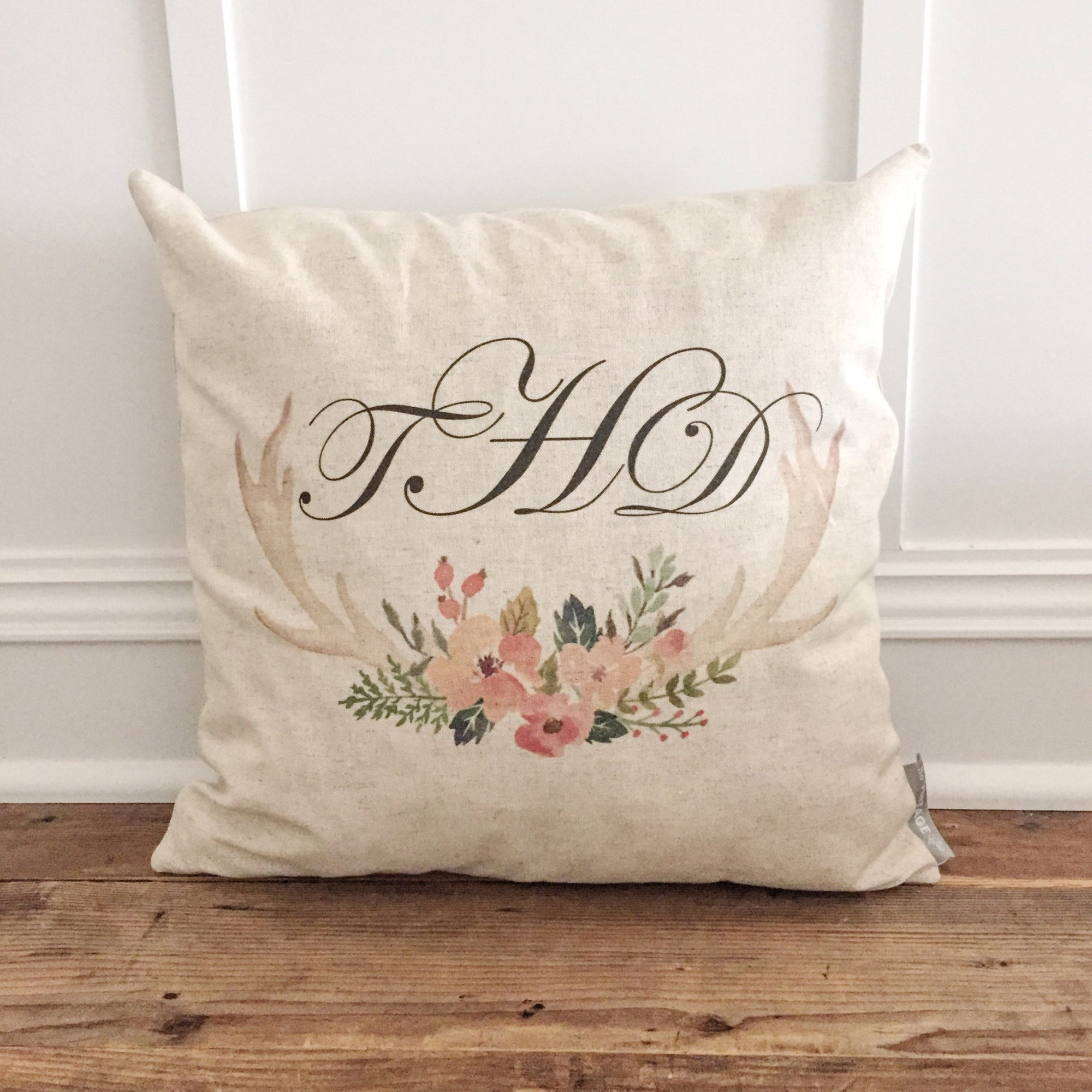Custom Monogram Floral Antler Pillow Cover - Linen and Ivory