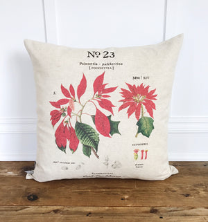 Poinsettia Botanical Pillow Cover - Linen and Ivory