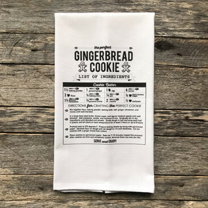 Gingerbread Cookie Recipe Tea Towel - Linen and Ivory