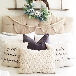 Hello There Handsome- Good Morning Gorgeous Pillow Cover (Set of 2) - Linen and Ivory